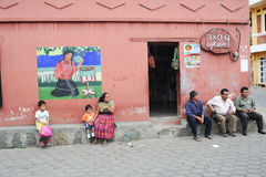 Street with painting at San Juan la laguna Royalty Free Stock Photo