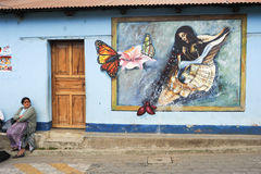 Street with painting at San Juan la laguna Stock Image