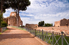 Street beside palatine stadium in palatine hill at Rome Stock Photo