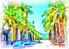 Street with palm trees in Corsica vector illustration