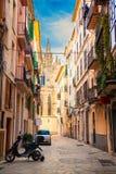 The street of Palma de Mallorca. Narrow street of Palma de Mallorca with Cathedral La Seu in the distance Royalty Free Stock Image