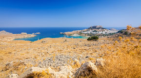Street panorama view for Lindos Royalty Free Stock Photo