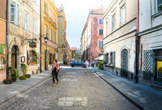 Street panorama in Warsaw, Poland, Europe. Royalty Free Stock Image