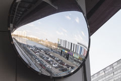 Street panoramic mirror at the station monorail, Russia, Moscow, 26.04.2015. Street panoramic mirror for the driver of the train at the station Telecenter royalty free stock photo