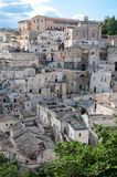 Street panoramic view of buildings in ancient Sassi di Matera Royalty Free Stock Images