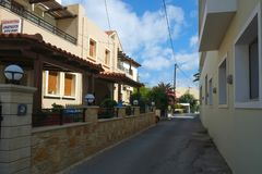 A street in Panormo, Crete, Greece royalty free stock image