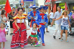 Street parade Folklore festival. Mexican folklore dancers at parade Varna Bulgaria during Parade of 23rd International Folklore Festival participants.August 3rd Stock Photos