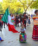 Street parade. Mexican dance group in national costumes at street parade.Picture taken on August 3rd 2014,Varna,Bulgaria Royalty Free Stock Photography