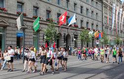 Street Parade participants on the Bahnhofstrasse street Stock Photography