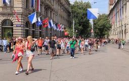 Street Parade participants on the Paradeplatz square Stock Image