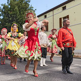 Street parade of Russian folk dance ensemble Stock Image