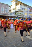 Street parade. Turkish folk dance group in national costumes at street parade.Picture taken on August 13,2014 Royalty Free Stock Photo