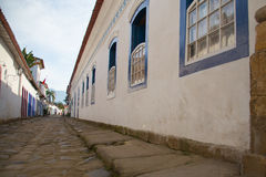 Street of Paraty, Brazil. Street of Paraty, a Brazilian historic village, with portuguese colonial architecture Royalty Free Stock Photos