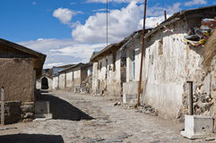 Street in Parinacota. It is a small town in chilean altiplano (4,400 m) in Lauca National Park Stock Photos