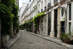 Street of Paris. With cobbles Royalty Free Stock Photography
