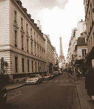 Street in Paris - Eiffel Tower. A Street in Paris with a view of The Eiffel Tower Stock Photo