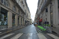 Street in Paris. France. One point perspective royalty free stock photography