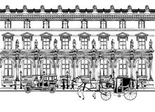 Street in Paris with horse carriage and old car stock illustration