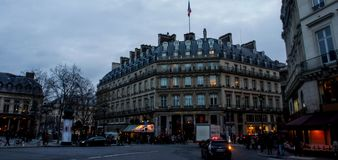 Street in paris. A picture of a street and a hotel, and buildings,in paris france,in a cold day of December Stock Images