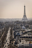 A street of Paris. Picture taken from the top of the 'Arc de triomphe'in Paris, France Stock Photography
