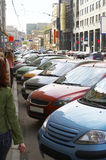 Street parking. Of cars in city centre Royalty Free Stock Images