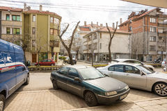Street parking in the Bulgarian town of Pomorie Royalty Free Stock Image