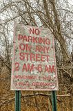 No Street Parking From 2 AM - 6 AM royalty free stock photo