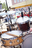 Street party. Musical equipment on stage. Stock Images