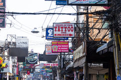 The street of Pattaya Walking street with advertizing signs in Thailand Stock Photography