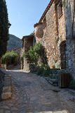 Street pavement in french village of Castelnou in Pyrenees orientales Royalty Free Stock Images