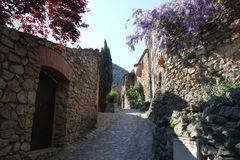 Street pavement in french village of Castelnou in Pyrenees orientales Stock Photography