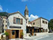 Street in Perast, the bay of Kotor, Montenegro Royalty Free Stock Images