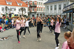 Street performance at Dance Day in Norway Stock Photos