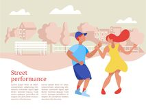 Street performance. Street dancer. Vector illustration. Street performance. Street dancer. Guy and girl dancing on the background of the city landscape. Vector Stock Photography