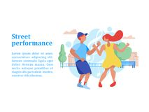 Street performance. Street dancer. Vector illustration. Street performance. Street dancer. Guy and girl dancing on the background of the city landscape. Vector Royalty Free Stock Photos