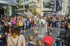 Street performance on Hollywood Ave. Los Angeles, APR 12: Street performance on Hollywood Ave on APR 12, 2017 at Los Angeles, California Royalty Free Stock Image
