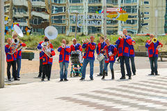 Street performance of musical group De Muggenblazers in Zandvoor Royalty Free Stock Image