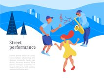 Street performance. Street musician. Vector illustration. Street performance. Street musician. The guy plays the saxophone. Man and woman dancing. Vector Stock Photo