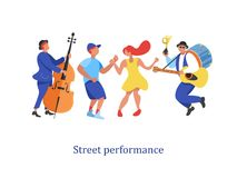Street performance. Street musician. Vector illustration. Street performance. Street musician. Man band plays guitar, drum and trumpet. Man playing the double Royalty Free Stock Photos