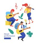 Street performance. Street musician. Vector illustration. Street performance. Street musician. Man band plays guitar, drum and trumpet. The girl plays the Royalty Free Stock Images