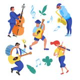 Street performance. Street musician. Vector illustration. Street performance. Street musician. The set of characters of street musicians. Man band, a girl royalty free illustration