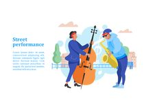 Street performance. Street musician. Vector illustration. Street performance. Street musician. The guy plays the saxophone. A man playing the contrabass. Vector Stock Image