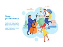 Street performance. Street musician. Vector illustration. Street performance. Street musician. Man band plays guitar, drum and trumpet. Man playing the double Stock Photos