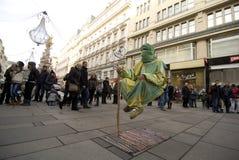 Street performer. Streetartist perform in Vienna at the Kärtnerstrasse Stock Photo