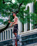 Boston street performer juggles knives Stock Photos