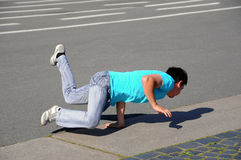 Street performer- breakdancer Royalty Free Stock Images