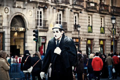 Street Performer Dressed as Charlie Chaplin Royalty Free Stock Image