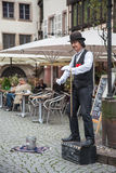 Street Performer Dressed as Charlie Chaplin Royalty Free Stock Photo