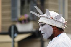 Street performer dressed as the Statue of Liberty in Rome, Italy. A close up of a street performer standing still, dressed as the statue of Liberty, taken in Stock Photography