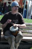 Street performer with drum Royalty Free Stock Photos